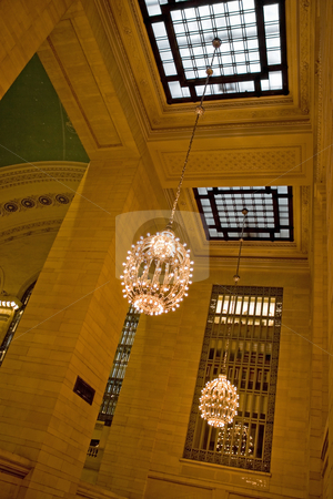 Grand Central Station Interior stock photo, Grand Central Terminal interior shot of the hanging chandeliers and skylights. by Todd Arena