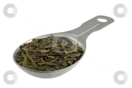 Tablespoon of full leaf loose green tea stock photo, Full leaf loose green tea on an old aluminum measuring tablespoon, isolated on white by Marek Uliasz