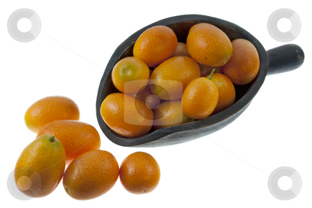 Rustic scoop of kumquats stock photo, Bright orange kumquats on a rustic, wooden scoop, isolated on white by Marek Uliasz