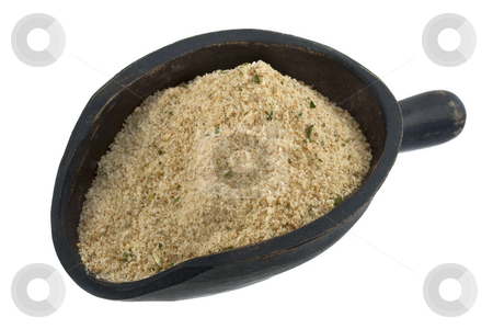 Scoop of breadcrumbs stock photo, Breadcrumbs with seasoning on a rustic wooden scoop isolated on white by Marek Uliasz