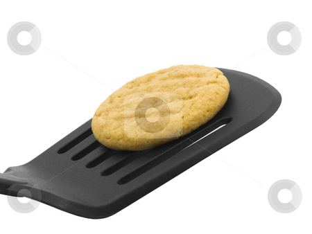 Peanut Butter Cookie stock photo, Peanut butter cookie on a spatula with white background by John Teeter