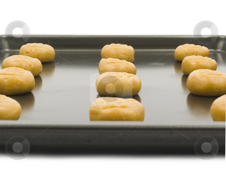 Peanut butter cookies stock photo, Peanut butter cookie dough on baking pan by John Teeter