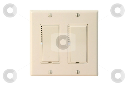 Wall Switch stock photo, Light switch on a white clean wall. by Henrik Lehnerer