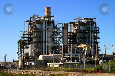Natural Gas Power Plant stock photo, Natural gas power plant near Ventura California. by Henrik Lehnerer