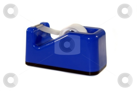 Tape Dispenser stock photo, Blue tape dispenser on white background by Henrik Lehnerer