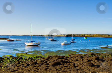 Boats on the Bay stock photo, Boats on Galway Bay in Ireland on a sunny day by Stephen Bonk