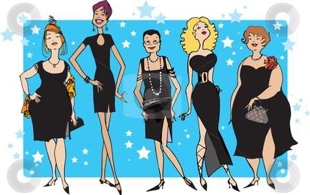 Black dress party stock vector clipart, Five ladies in black dresses by Vanda Grigorovic