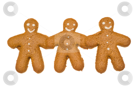 Friendship Concept stock photo, Concept image of friendship by using three gingerbread cookies that are holding hands, isolated against a white background by Richard Nelson