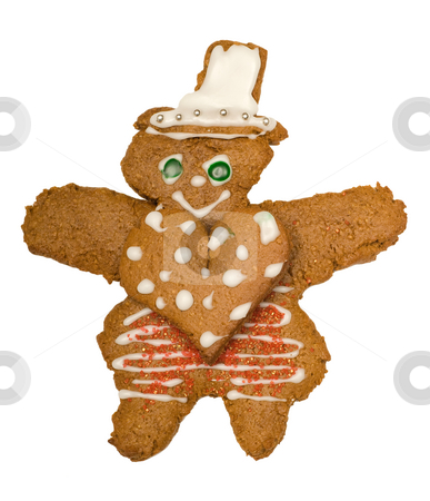 Loving Man stock photo, A single gingerbread man with a large heart on his body, isolated against a white background by Richard Nelson