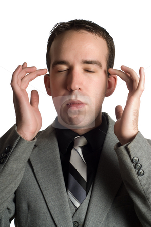Alternative Medicine stock photo, Closeup view of a businessman tapping the sides of his eyes as a step in performing the Emotional Freedom Technique, isolated against a white background by Richard Nelson