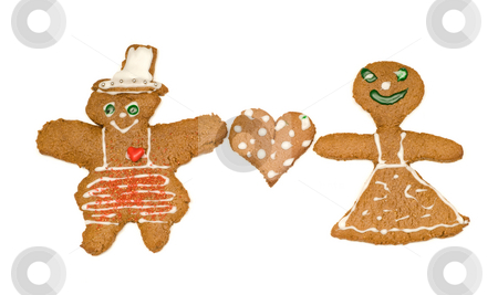 Loving Marriage stock photo, Concept image of two gingerbread men in love, isolated against a white background by Richard Nelson