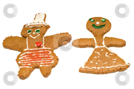 Gingerbread Couple stock photo, A male and female version of gingerbread cookies, isolated against a white background by Richard Nelson