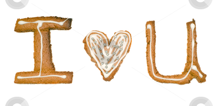 I Love You Cookies stock photo, Closeup view of three cookies cut out into shapes that spell I love you, isolated against a white background by Richard Nelson