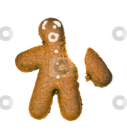 Broken Arm stock photo, A homemade gingerbread man suffering from a broken arm, isolated against a white background by Richard Nelson