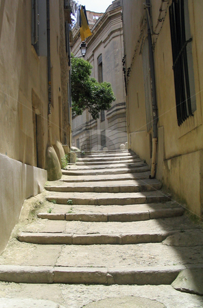Steps in Montpellier France stock photo, View up steps in Montpellier France by Jaime Pharr
