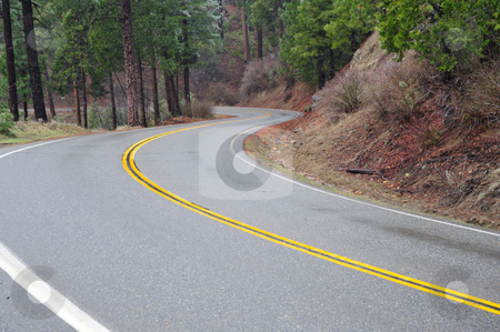 Winding Mountain Road stock photo, Sierra mountain road and yellow dividing line with trees and lite snow by Lynn Bendickson