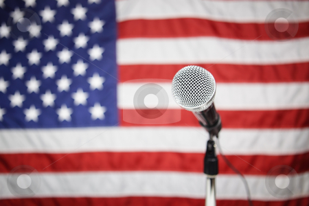 American Flag and microphone stock photo, Microphone in front of American flag by Bryan Mullennix
