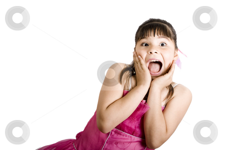 That is Awesome!!! stock photo, Studio shot of surprised girl wearing fancy dress - Isolated on white by iodrakon