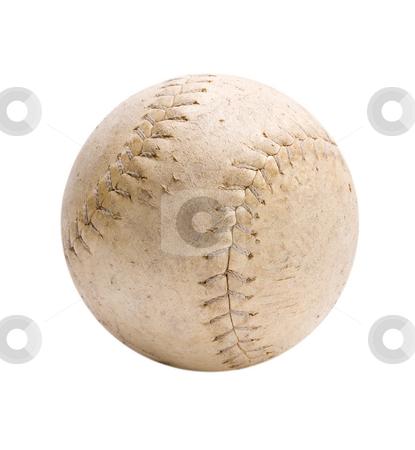 Old Softball stock photo, Studio shot of Weathered Softball isolated on white background by iodrakon