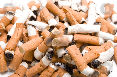 Cigarettes stock photo, Close up shot of many cigarette butts - selective focus on foreground by iodrakon