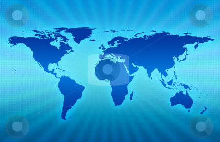 Blue Planet stock photo, CG map of planet earth over blue  background by iodrakon