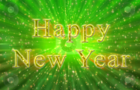 New year sparkly sign  stock photo, Computer generated New year sparkly sign green and gold colors by iodrakon