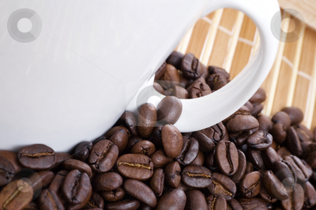 Coffee beans and cup on bamboo  stock photo, Closeup of coffee beans and cup on bamboo by iodrakon