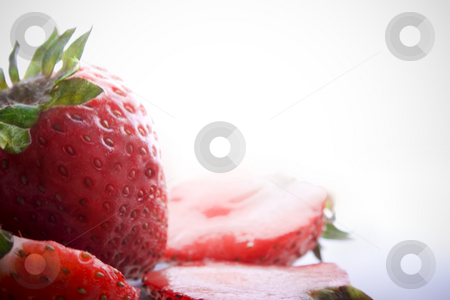 High Key Strawberries stock photo, High Key Strawberries over faded white background by iodrakon