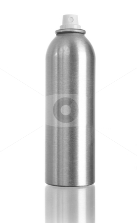 Spray can isolated on white stock photo, Studio shot of spray can isolated on white with reflection on bottom by iodrakon