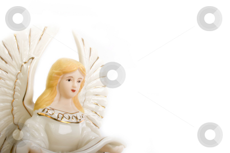 Ceramic Angel stock photo, Studio shot of ceramic angel isolated on white by iodrakon
