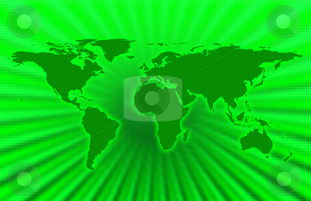 Green Planet stock photo, CG map of planet earth over green  background by iodrakon