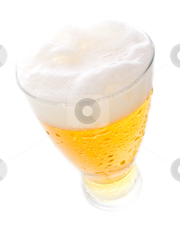 Beer on tall glass  stock photo, Beer on tall glass shot with wide angle lens by iodrakon