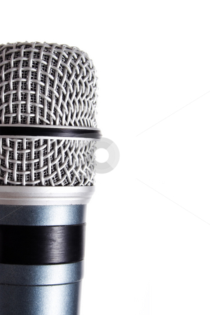 Microphone stock photo, Closeup of Blue microphone isolated on white by iodrakon