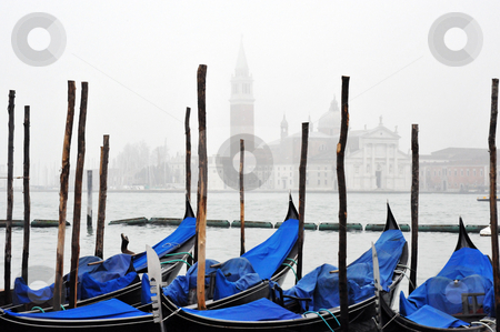 Venice gondolas in fog  stock photo, Venice gondolas in fog with grand canal in background by Jaime Pharr
