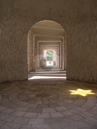 Holocaust memorial stock photo, View down passageway to Holocaust memorial in Miami Beach by Jaime Pharr