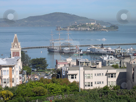 Balclutha and Alcatraz  stock photo, Balclutha ship and Alcatraz in San Francisco by Jaime Pharr