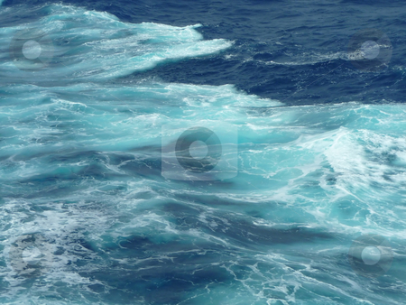 Wave wash on a turquoise sea stock photo, View of a ship's wave wake in a turquoise sea by Jill Reid