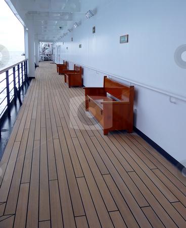 Empty cruise ship walking deck stock photo, An empty walking deck on a cruise ship by Jill Reid
