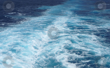 Ship's wake in a turquoise sea stock photo, View of a ship's wave wake in a turquoise sea by Jill Reid