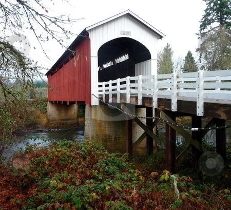 Currin covered bridge in Cottage Grove, Oregon stock photo, Currin covered bridge in Cottage Grove, Oregon by Jill Reid