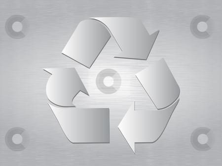 Brushed Metal Recycle Symbol stock vector clipart, Recycle Symbol over brushed metal background by iodrakon