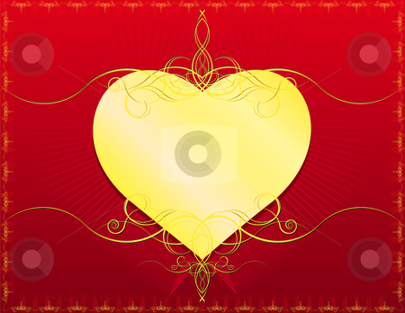 Classic Heart stock vector clipart, Golden Heart with classic swirls- In vector version all elements are independent and can be reused by iodrakon