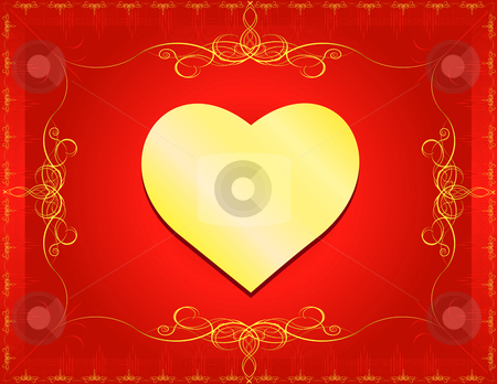 Classic Heart with Border stock vector clipart, Golden Heart with classic border and swirls- In vector version all elements are independent and can be reused by iodrakon