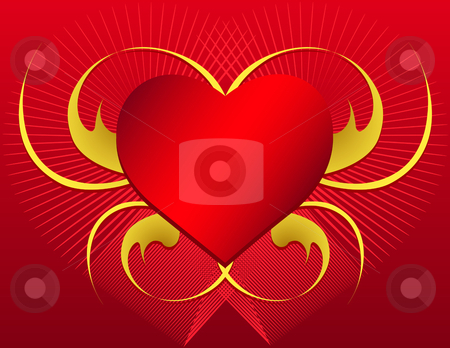 Vector Heart Shape with swirls stock vector clipart, Heart with Swirls - In vector version all elements are independent and can be reused by iodrakon