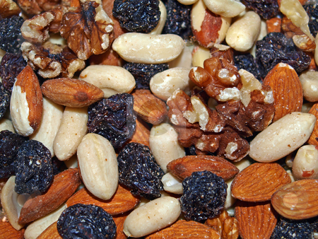 Mixted and fruit and nuts. stock photo, Closeup of  healthy mixted and fruit and nuts. by Ian Langley