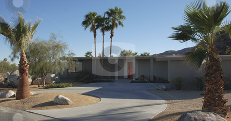 Modernist house in Palm Springs stock photo,  by Didier Tais