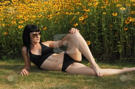 Pretty girl in bikini. stock photo, Young beautiful woman in an black bikini sitting in front of a field of yellow  flowers in the sunset. by Horst Petzold