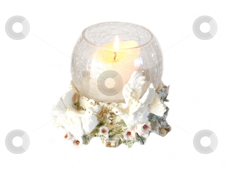 Candle holder.     stock photo, A single round candle holder burning with two doves and flowers. by Horst Petzold