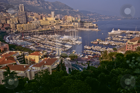 Monte Carlo and the marina at Monaco stock photo, Monaco marina at La Condamine from Palace Plaza by GB Tittle