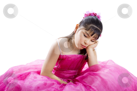 I'm sooo bored stock photo, Studio shot of bored girl wearing fancy dress - Isolated on white by iodrakon